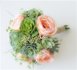 Peach Succulents Sprays Real Touch Silk Wedding Flower Bouquet