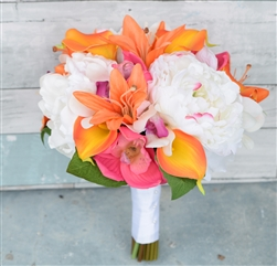 Silk Blush, Coral Orange & Fuchsia Peonies, Orchids, Callas and Lilies Bouquet
