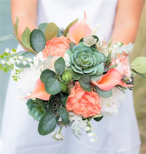 Real Touch Succulents, Peonies and Eucalyptus Peach Wedding Bouquet