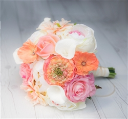 Natural Touch Peach Roses, Ranunculus, Callas, Peonies Mix Bouquet - Silk Wedding Flowers