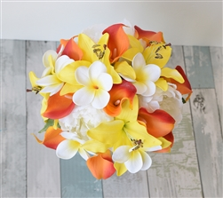 Orange and Yellow Roses, Yellow Callas and Peonies Bouquet Mix