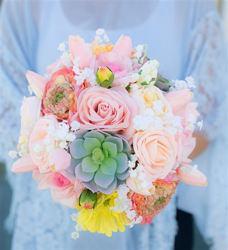 Amazing Blush Peach Yellow Bouquet - Succulents, Roses, Ranunculus, Tulips and Baby's Breath Wedding Real Touch Bouquet