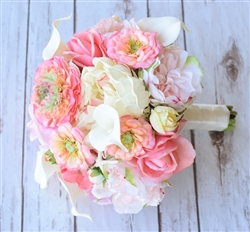 Real Touch Coral Peach Ranunculus, Peonies and Succulents Bouquet Mix