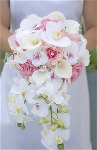 Natural Touch Pink Roses, Callas & Orchids Brooch Cascade Silk Wedding Bouquet