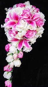 Natural Touch Off White Roses and Pink Stargazer Lilies Cascading Bouquet