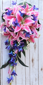 Natural Touch Fuchsia Stargazer and Mokara Purple Blue Orchids Cascade Bouquet