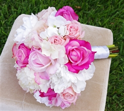 Pink Natural Touch Roses & Off White Hydrangeas Bouquet