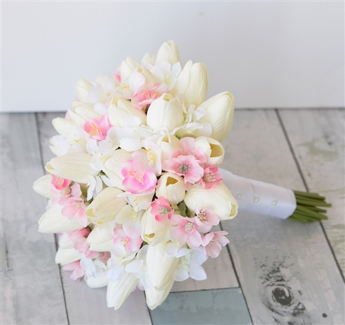 Real Touch Tulip and Cherry Blossom Bouquet - Silk Wedding Off White and Pink Flowers