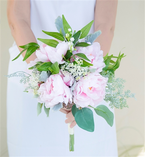 Silk Wedding Bouquet - Silk Soft Pink Blush Peony Boho Rustic Chic Wedding Bouquet