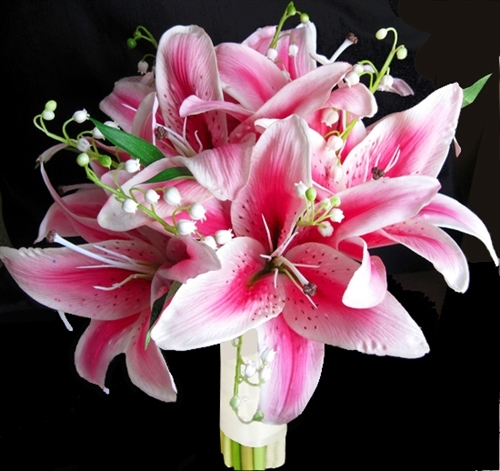 Real Touch Fuchsia Hot Pink Stargazer Bouquet