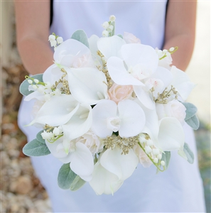 Off White & Blush Calla Lily and Roses Bouquet - Gold Details - Real Touch Wedding Bouquet