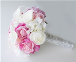 Real Touch Off White and Hot Pink Peonies, Hydrangeas and Callas Silk Wedding Bouquet