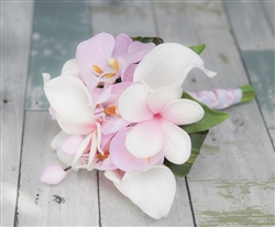 Tropical Bouquet of Blush Pink and Off White Natural Touch Plumerias, Callas and Orchids