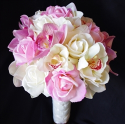 Silk Wedding Bouquet with Real Touch Pink and Off White Roses and Orchids