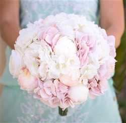 Blush Pink Hydrangeas, Peonies and Roses Bouquet Bundle - Silk Wedding Flowers Bouquet