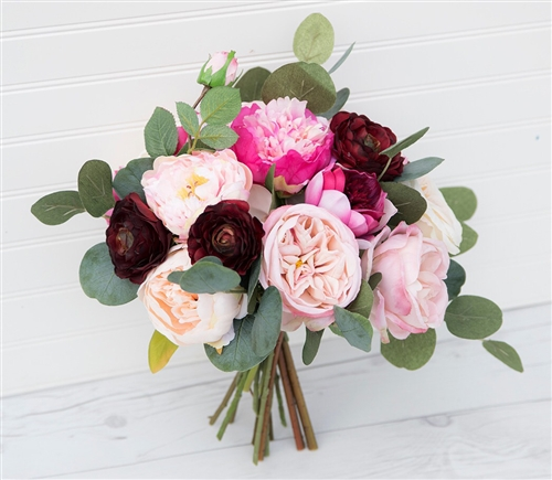 Boho Lush Bouquet - Peonies, Garden Roses & Ranunculus Mix - Rustic Chic Wedding Flower Bouquet