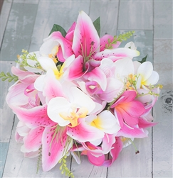 Real Touch Fuchsia Hot Pink Stargazer and Plumerias Bouquet