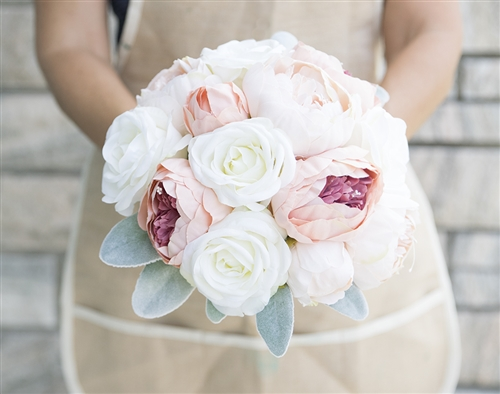 Off White Roses and Antique Pink Blush Peonies Silk Wedding Bouquet