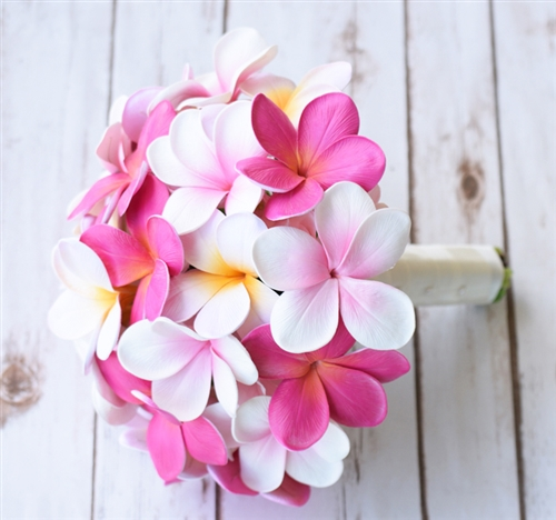 Tropical Bouquet of Pink and Off White Natural Touch Plumerias