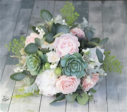 Lush Natural Touch Peonies, Succulents, Roses and Eucalyptus Bouquet - Silk Wedding Faux Bouquet
