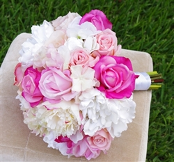Hot Pink Roses, Peonies and Hydrangeas Real Touch Silk Wedding Bouquet