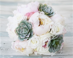 Specialty Blush Pink Peonies and Dusty Sage Green Succulent Bouquet