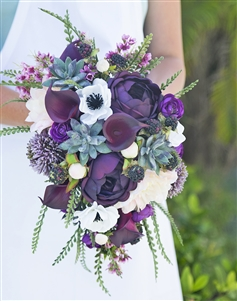 Real Touch Purple Plum Boho Rustic Bouquet - Succulents, Peonies, Anemone and Calla Silk Cascade Bouquet