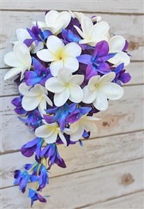 Natural Touch Purple Blue Orchids and Plumerias Cascading Bouquet