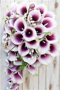 Natural Touch Purple Heart Picasso Callas Silk Cascade Bouquet