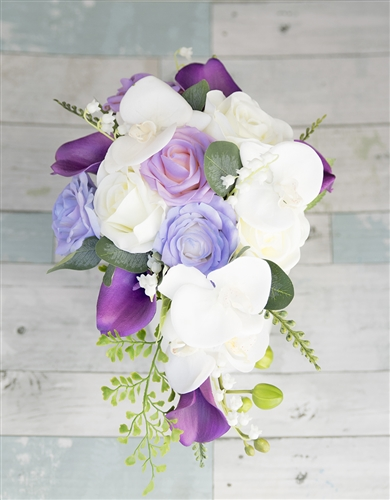 Natural Touch Off White, Purple and Lavender Roses, Orchids and Callas Cascade Bouquet