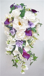 Garden Boho Rustic Bouquet with Natural Touch Off White, Purple Roses and Callas. Perfect Cascade Silk Wedding Bouquet