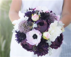 Natural Touch Plum Purple Peonies, Blush Peonies & Anemones, Succulents & Berries Silk Wedding Bouquet.