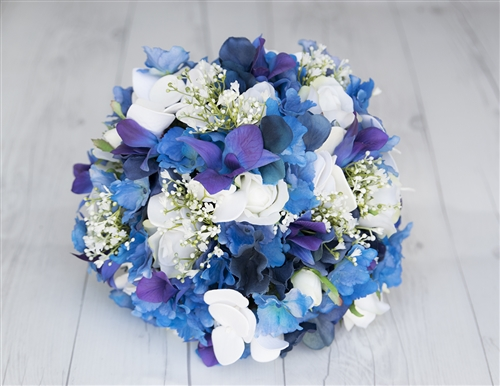 Real Touch Purple Blue Orchids, Roses and Hydrangeas Silk Wedding Bouquet