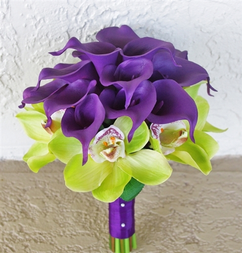 Purple and Green Natural Touch Callas & Orchids