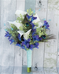 Peacock Feathers, Callas and Purple Blue Orchids Real Touch Silk Wedding Bouquet