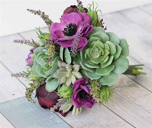 Purple Plum Succulent and Anemone Real Touch Wedding Bouquet