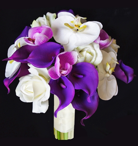 Floramatique Natural Touch Purple Calla Lilies Bouquet