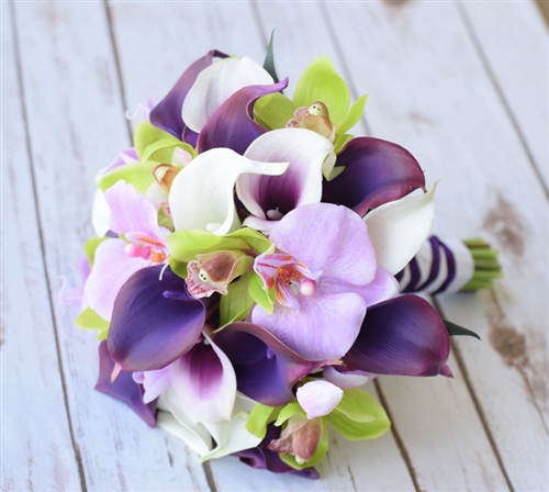 Natural Touch Purple Calla Lilies and Green Cymbidium Orchids Silk Bouquet
