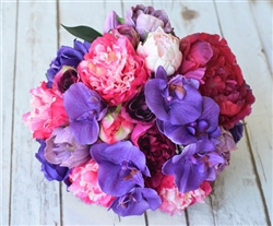 Natural Touch Purple Lilies and Peonies Bouquet