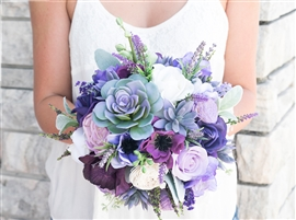 Natural Touch Purple Lilac Succulent Sprays Bouquet. A Freshly Gathered look bouquet using Succulents, Purple Anemones and Roses, Lilac Flowers and  Lavender Sprays Silk Wedding Bouquet.