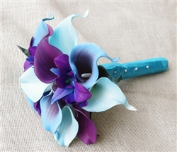 Natural Touch Purple and Turquoise Callas Bouquet