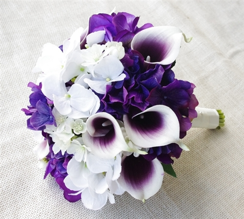 Natural Touch Purple Picasso Callas and Hydrangeas