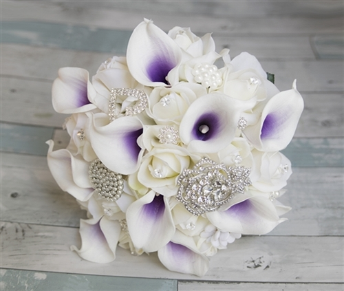 Purple Real Touch Callas and Brooch Jewels Bouquet