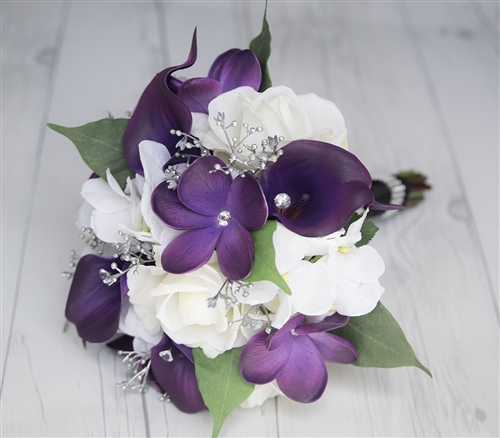 Real Touch Purple Callas, Roses and Plumerias Silk Wedding Bouquet