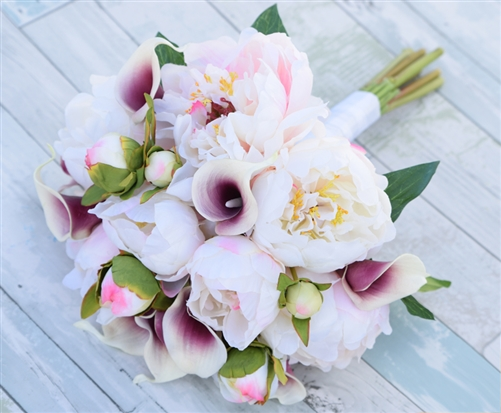 Silk Blush Pink and Purple Peonies and Callas Wedding Bouquet
