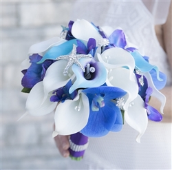 Natural Touch Purple Blue Callas & Mokara Orchids Bouquet