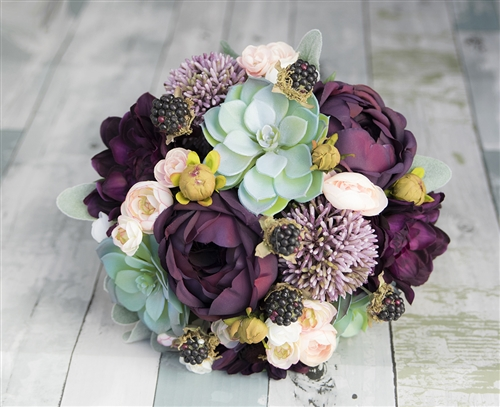 Natural Touch Plum Mint Lilac Peonies, Succulents & Allium Silk Wedding Bouquet