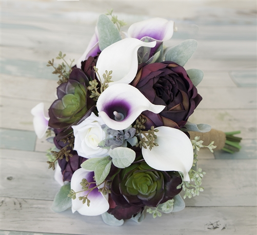 Natural Touch Plum Purple Peonies, Succulents & Picasso Callas Silk Wedding Bouquet