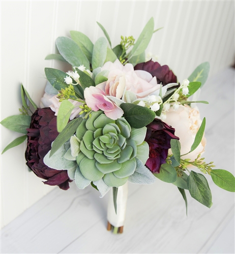 Succulent Plum Blush Real Touch Silk Wedding Bouquet - Peonies and Eucalyptus Silk Wedding Flowers