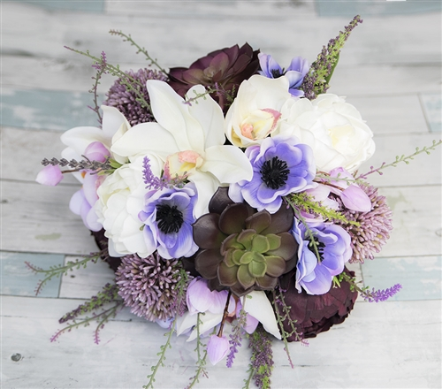 Real Touch Lilac Purple Blush Peonies, Succulents & Orchids Silk Wedding Bouquet